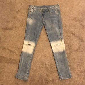 Never worn light wash wrapped denim skinny jeans